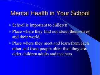 Mental Health in Your School