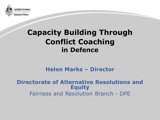 Capacity Building Through Conflict Coaching in Defence