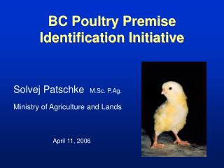 BC Poultry Premise Identification Initiative