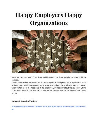 Happy Employees Happy Organizations