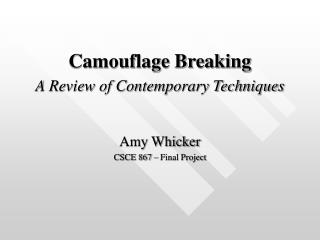 Camouflage Breaking A Review of Contemporary Techniques