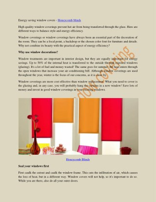 Energy saving window covers - Honeycomb blinds