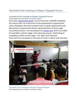 Top Bank Clerk Coaching in Udaipur Vijaypath Classes
