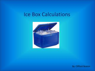 Ice Box Calculations