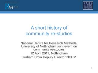 A short history of  community re-studies