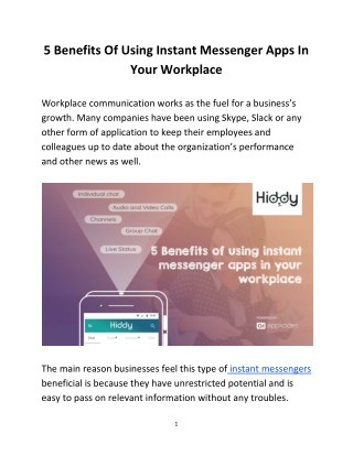 5 Benefits Of Using Instant Messenger Apps In Your Workplace