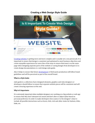 Creating a Web Design Style Guide