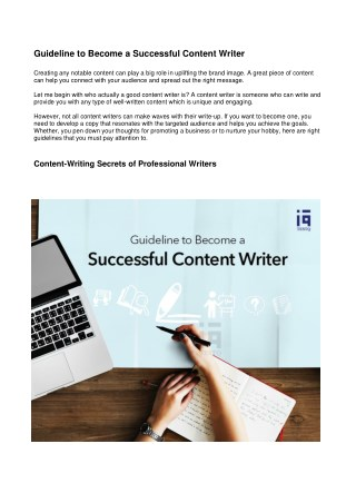 Guideline to Become a Successful Content Writer