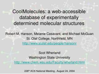 CoolMolecules: a web-accessible database of experimentally determined molecular structures