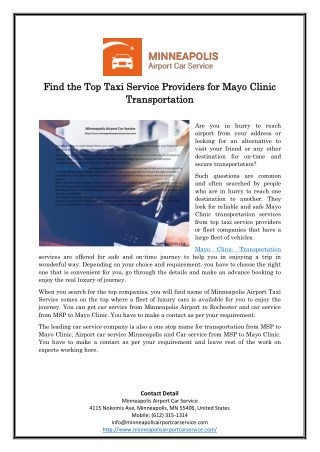 Find the Top Taxi Service Providers for Mayo Clinic Transportation