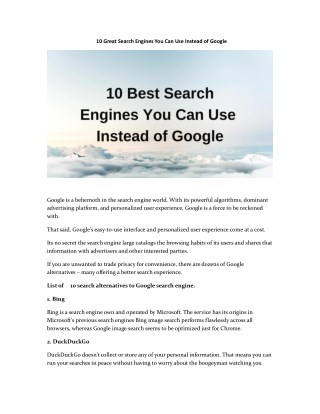 10 Great Search Engines You Can Use Instead of Google