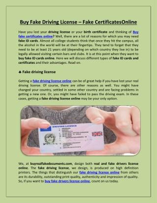 Buy Fake Driving License – Fake Certificates Online