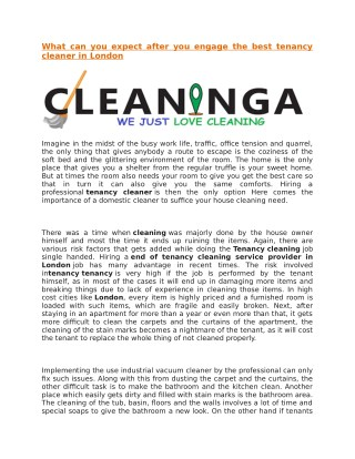 What can you expect after you engage the best tenancy cleaner in London