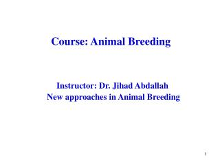 Course: Animal Breeding