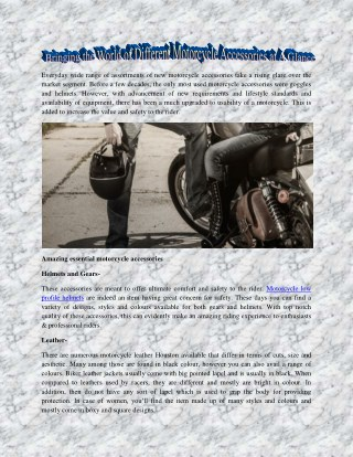 Bringing the World of Different Motorcycle Accessories at A Glance