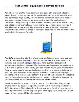 Pest Control Equipment: Sprayers for Sale