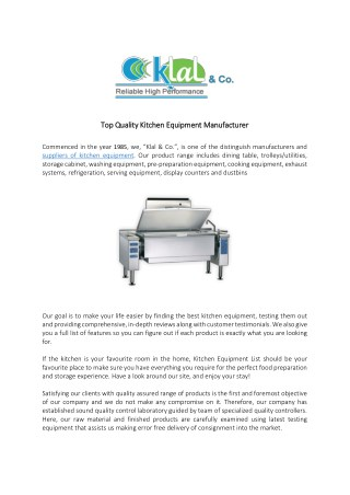 Top Quality Kitchen Equipment Manufacturer