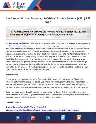 Gas Sensor Market Summary & Critical Success Factors (CSFs) Till 2020