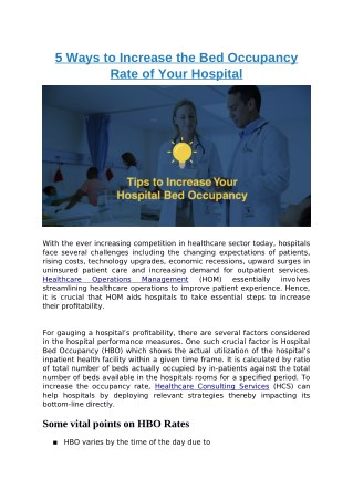 5 Ways to Increase the Bed Occupancy Rate of Your Hospital