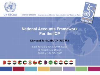 National Accounts Framework For the ICP Giovanni Savio, SD, UN-ESCWA First Workshop for the 2011 Round in Western Asia R