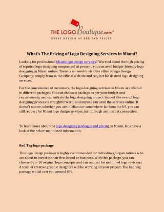 What's The Pricing of Logo Designing Services in Miami
