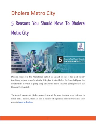5 Reasons You Should Move To Dholera Metro City