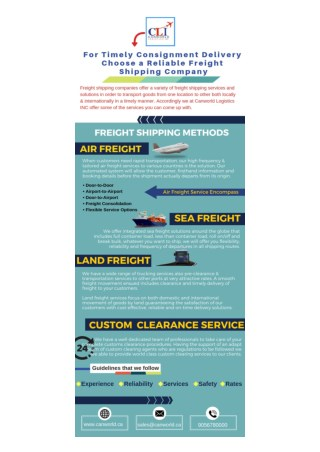 For Timely Consignment Delivery Choose a Reliable Freight Shipping Company