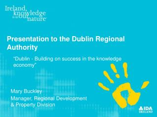 Presentation to the Dublin Regional Authority