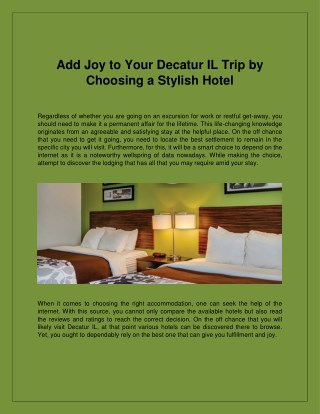 Find Exciting Holiday Trip to Decatur IL by Choosing a Stylish Hotel Sleep Inn