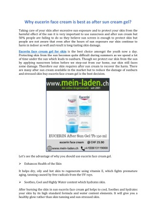 Why eucerin face cream is best as after sun cream gel?