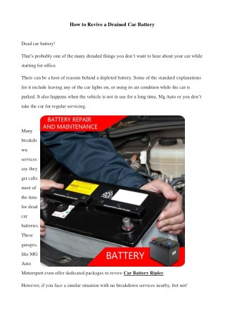 How to Revive a Drained Car Battery