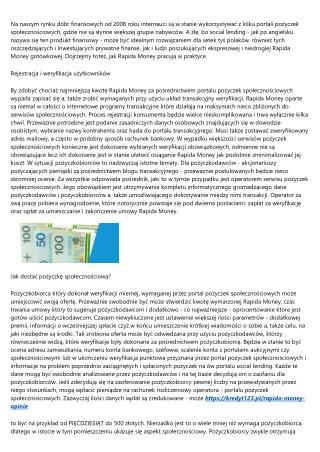 Szczegóły które musisz wiedzieć o Rapida Money opinie