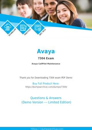Latest Avaya 7304 Dumps PDF with Verified 7304 Questions PDF