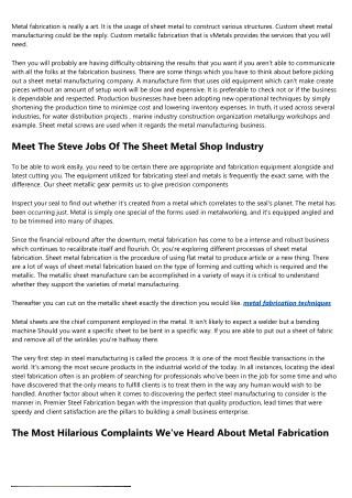 What The Heck Is Custom Metal Fabrication Denver?