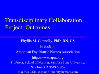 Transdisciplinary Collaboration Project: Outcomes
