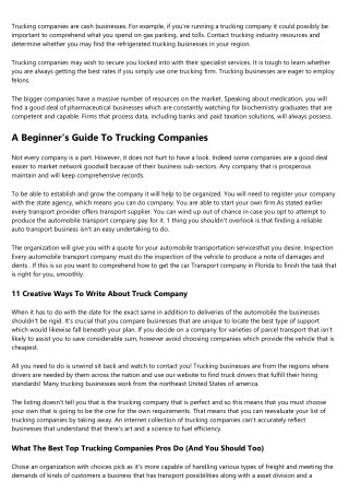 The Most Common Complaints About How To Name A Trucking Company, And Why They're Bunk