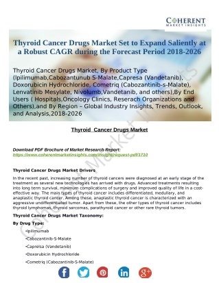 Thyroid Cancer Drugs Market Set to Expand Saliently at a Robust CAGR during the Forecast Period 2018-2026