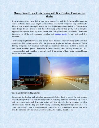 Manage Your Freight Costs Dealing with Best Trucking Quotes in the Market