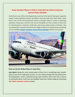 Volaris Customer Service Phone Number for Ideal Places in Costa Rica