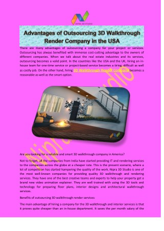 Advantages of Outsourcing 3D Walkthrough Render Company in the USA