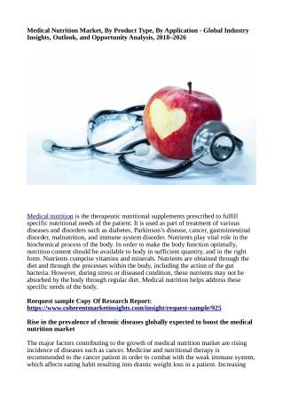 Medical nutrition market Till 2026