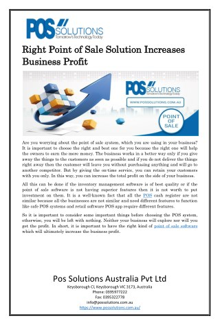 Right Point of Sale Solution Increases Business Profit