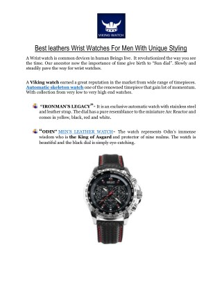 Best leathers Wrist Watches For Men With Unique Styling
