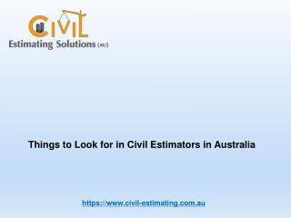 Civil Estimators in Australia