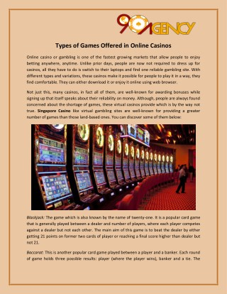 Types of Games Offered in Online Casinos