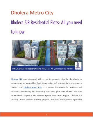 Dholera SIR Residential Plots: All you need to know