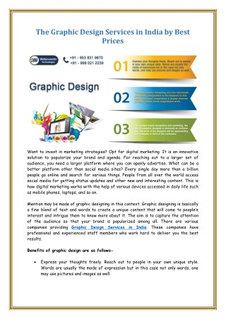 The Graphic Design Services in India by Best Prices