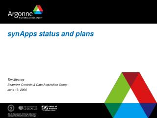 synApps status and plans