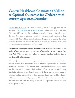 Centria Healthcare Commits $5 Million to Optimal Outcomes for Children with Autism Spectrum Disorder