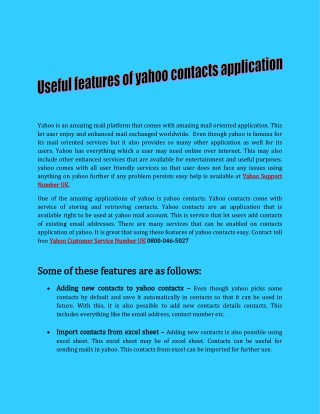 Useful features of yahoo contacts application